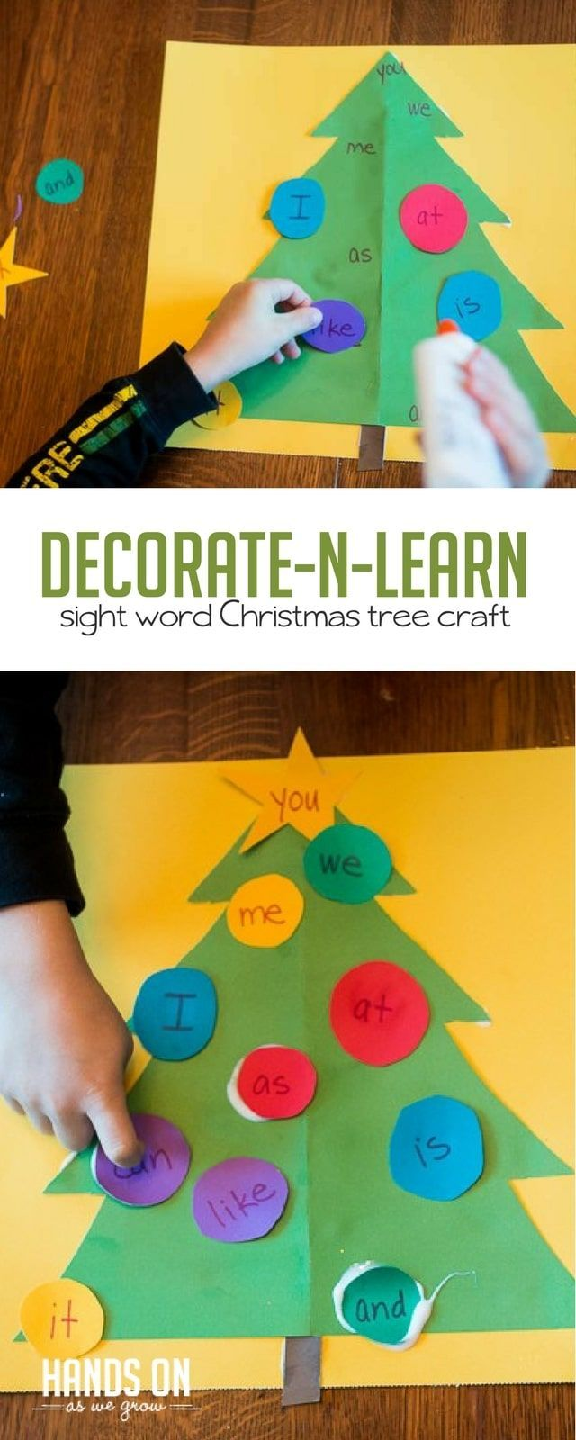 Decorate the Christmas tree - and learn sight words! via @handsonaswegrow