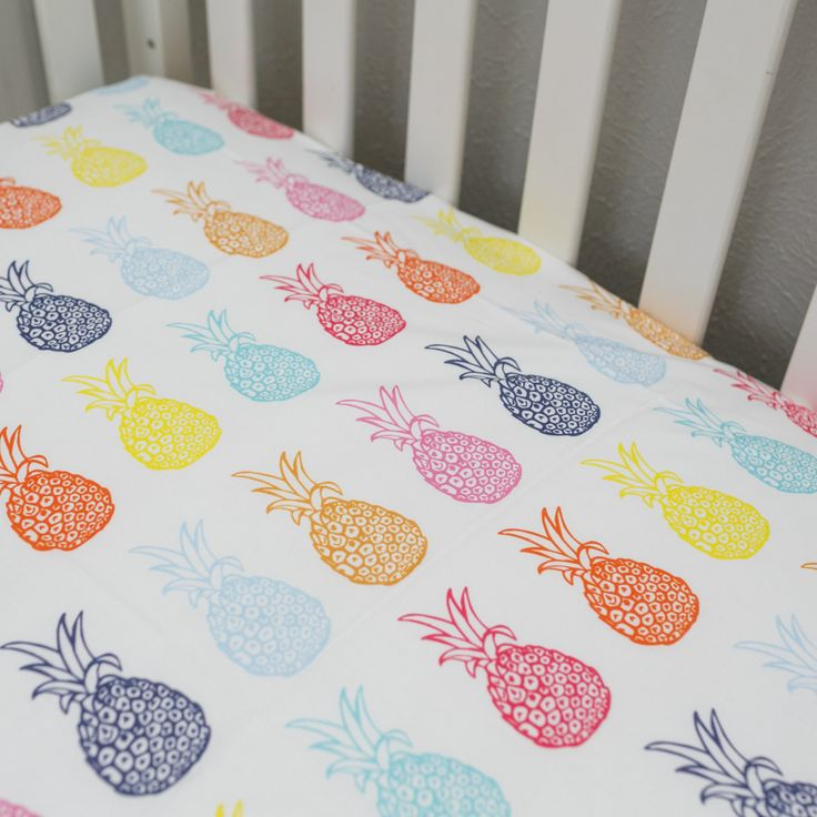 Rainbow Pineapple Fitted Crib Sheet/Blanket/boppy cover/changing pad cover by PeasnCarrotsBaby on Etsy