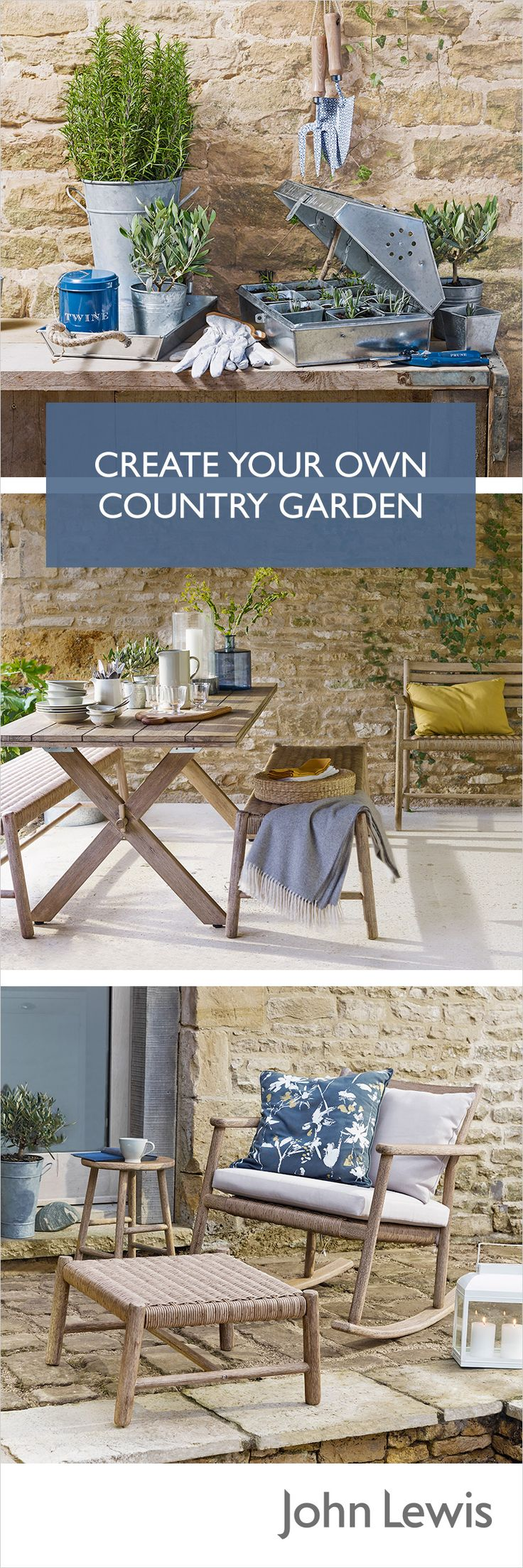 Create your own country garden, perfect for relaxing or entertaining this summer. Inspired by a classic rural look, the John Lewis Croft collection is both beautiful and considered. Invest in charming but durable wooden furniture suited to all weather, and pair with a neutral colour palette to get the country look.