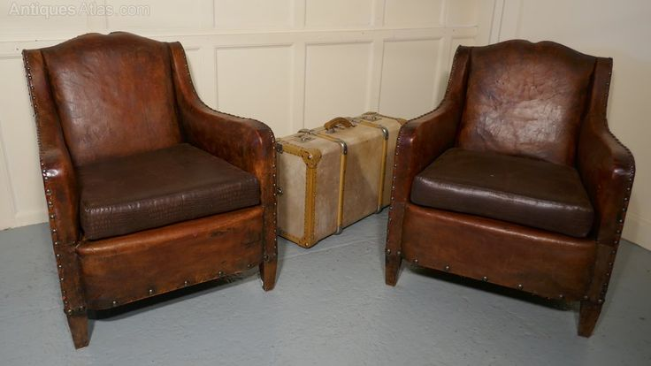 Pair Elegant Shabby French Art Deco Leather Chairs - Antiques Atlas
