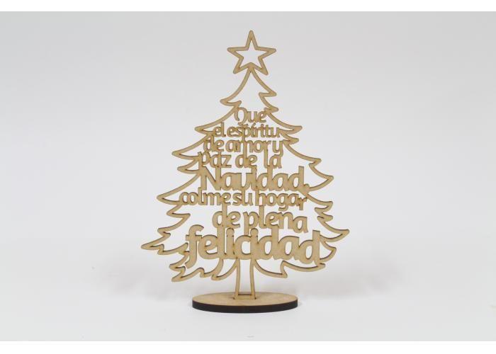 InteliCut: Pino con frase Que el Espíritu 20cm - Kichink  Laser cut Christmas tree