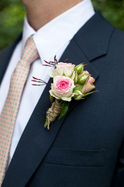 rustic rose wedding flower boutonniere, groom boutonniere, groom flowers