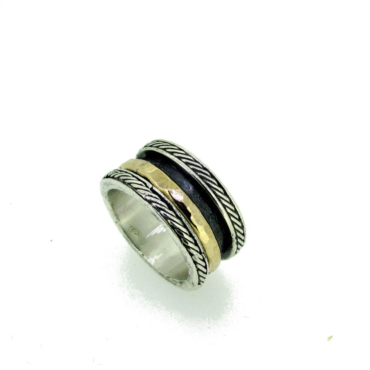 sterling silver meditation rings, spinning meditation rings, spinning meditation ring, spinner rings for women, meditation jewelry,love ring, fidget spinner, fidget ring, anxiety ring, anxiety jewelry, spinner ring women, Gift for her, boho ring  Width: 11mm Material: Sterling silver  Goldfield For more meditation rings: http://etsy.me/2iw9ssu  Shir&Gaya Hand made Meditation rings get the inspiration from the Holy land jewelry. We have unique and stylish designs line of spi...