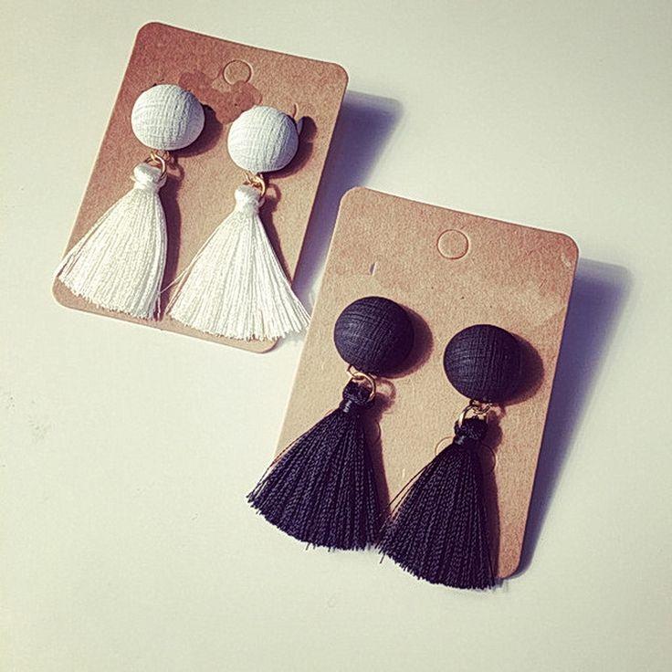 エスニックジュエリーボヘミアン白と黒房のイヤリングpendientes女性ファッションイヤリング