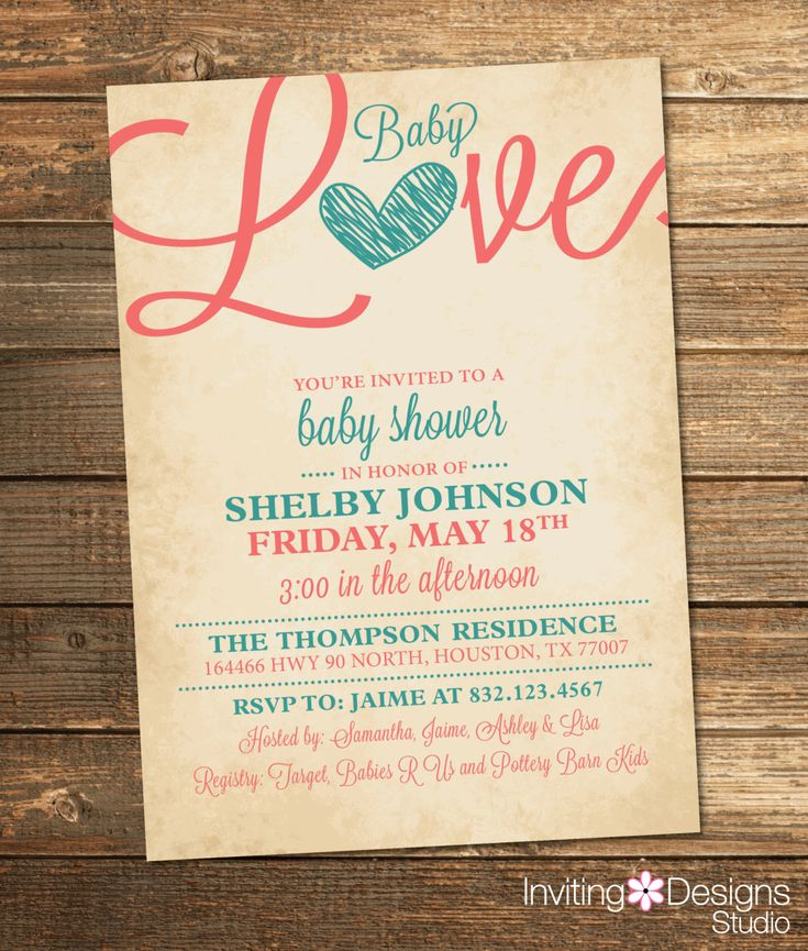 baby love invitation in teal and coral rustic vintage baby shower printable file by