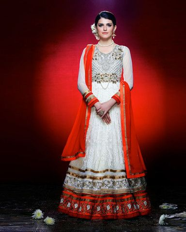 White and Red Floor Length Anarkali