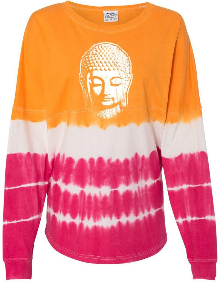 "Ladies LITTLE BUDDHA HEAD Cotton Tee, Extra Small Atomic Orange/Cosmic Pink. Made in the USA!. This terrific heavyweight buddha tee shirt is quality at it's best. 100% preshrunk cotton. Ribbed collar and cuffs. Rounded bottom waist. ""Yoga Clothing for You"" guarantees your satisfaction on every purchase!."