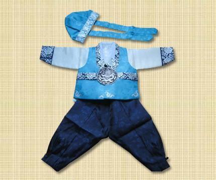 1st Birthday Boy Blue and Silver Hanbok Rental