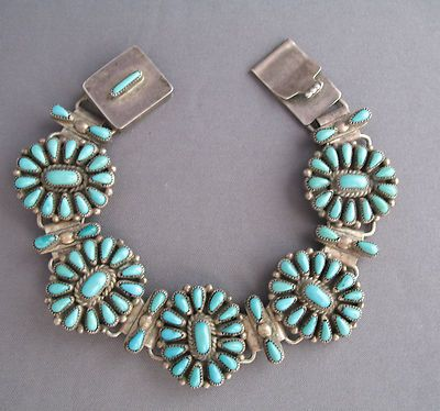 Vintage Turquoise Jewelry | Rare~antique Vintage Old Pawn Sterling & Turquoise Link Bracelet 23g