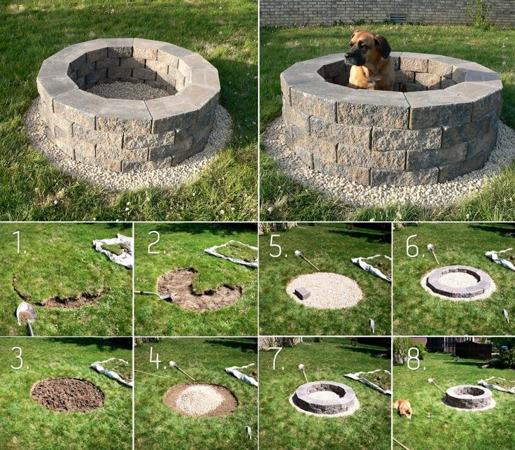 75 best images about fireplaces fire pits on pinterest for Easy way to build a fire pit