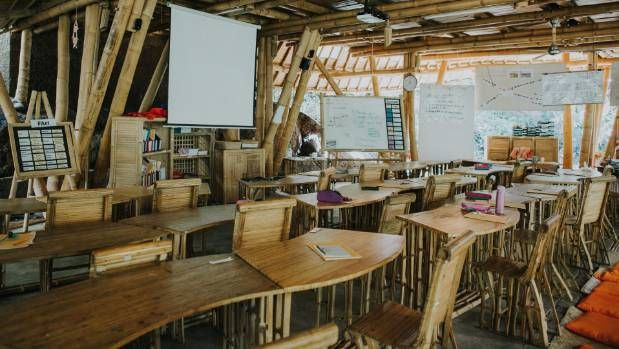 Green School classrooms feature bamboo furniture, and most don't have walls.