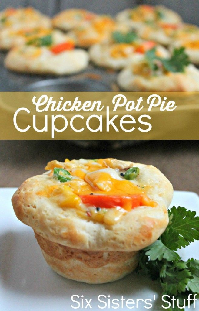 Chicken Pot Pie Cupcakes from SixSistersStuff