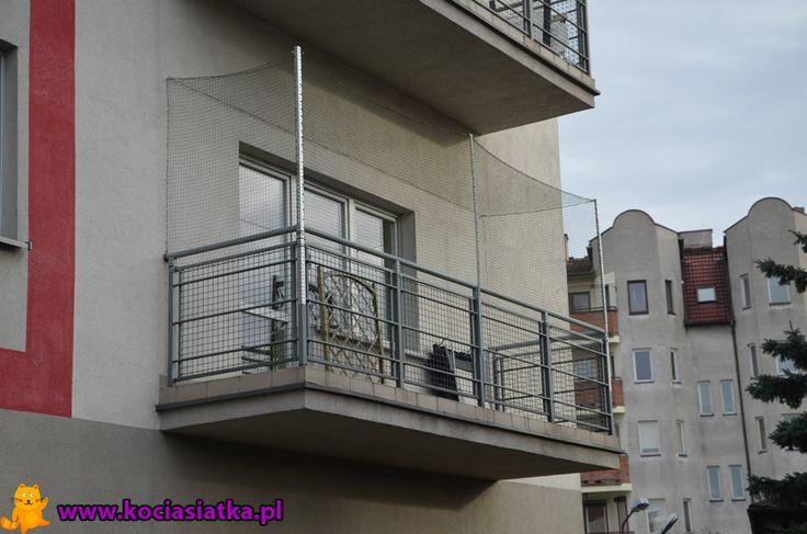Siatka na wysuniętym balkonie :) [Warszawa - kociasiatka.pl]
