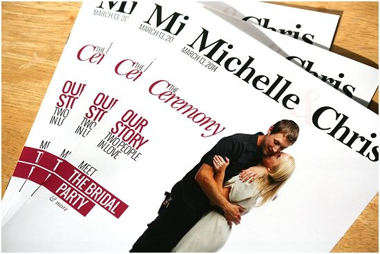 Amazing wedding catalog featuring the wedding couple! Program, bridal party, how bride and groom met, amazing!!!