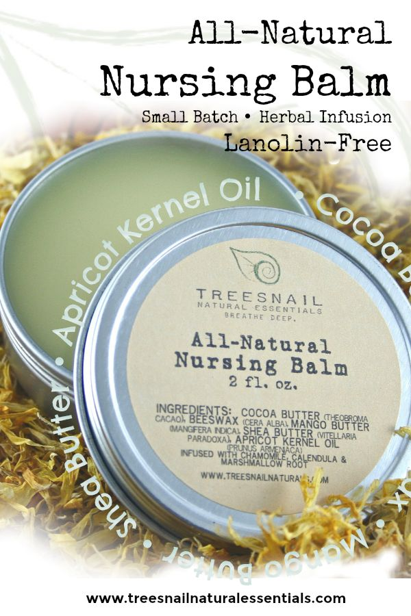 For the natural mama. Small batch, handmade nursing balm free from preservatives, fragrances, lanolin, and other unnecessary chemicals.  Pure care for your sensitive skin, safe for your baby to ingest.  Safe for our babies, safe for your babies.  www.treesnailnaturalessentials.com  #naturalbaby #naturalmama #naturalproducts #maternity #nursingbalm #breastfeeding #attachmentparenting #handmade #lanolinfree