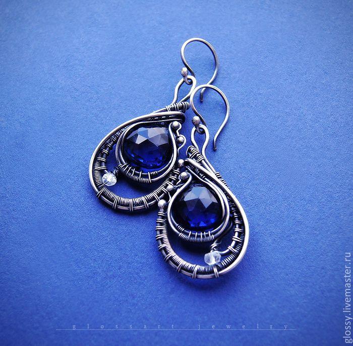 Cерьги Anthia - серебряные серьги,каплевидные,синий,Ультрамарин,белый