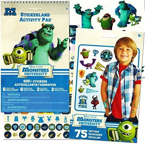 Monsters University Stickers & Tattoos Party Favor Pack (Over 600 Monsters Inc Stickers & 75 Temporary Tattoos):   Monsters University Stickers & Tattoos Party Favor Pack - Over 600 Monsters Stickers & 75 Temporary Tattoos. Colorful stickers and temporary tattoos featuring characters from Monsters Inc. and Monsters University! Monsters University sticker pad with over 600 Monsters stickers featuring Mike and other favorite Monsters Inc. characters! Monsters University stickers are on 6...