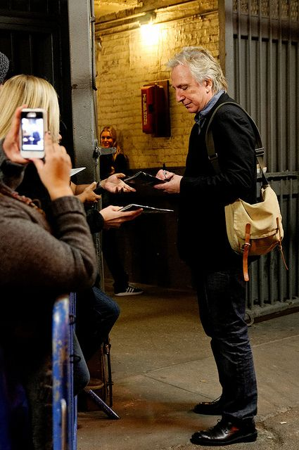 Alan Rickman signing autographs at Seminar stage door, NYC, 9 November 2011 | Flickr