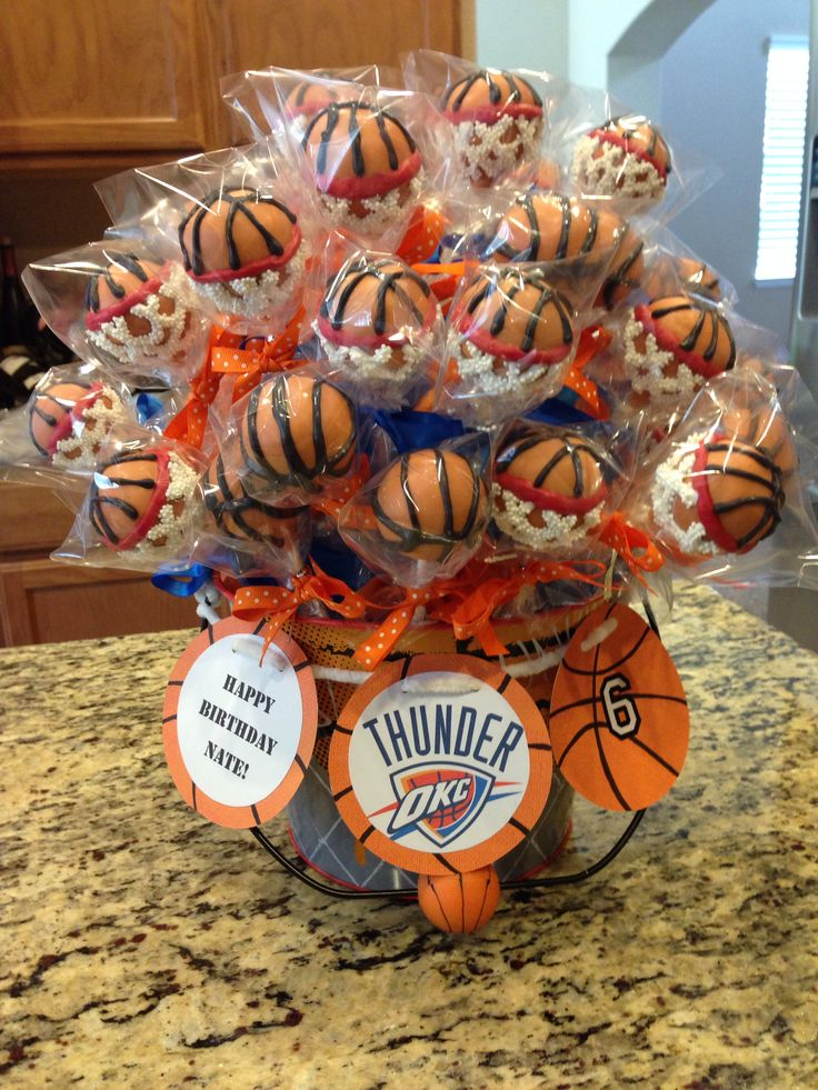 Basketball cake pops.