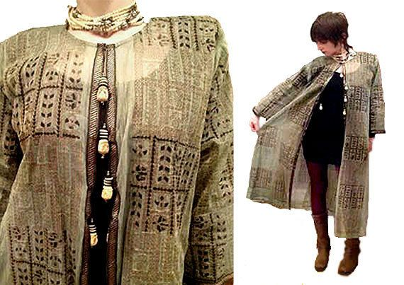SHEER Organdy ETHNIC DUSTER Gold Block Print Carved Tassels Long Jacket