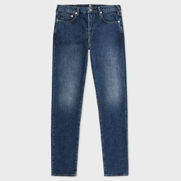 Men's Slim-Fit Red-Cast Dark-Wash Jeans