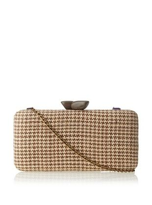 52% OFF KAYU Women's Straw Clutch with Wood Clasp, Brown