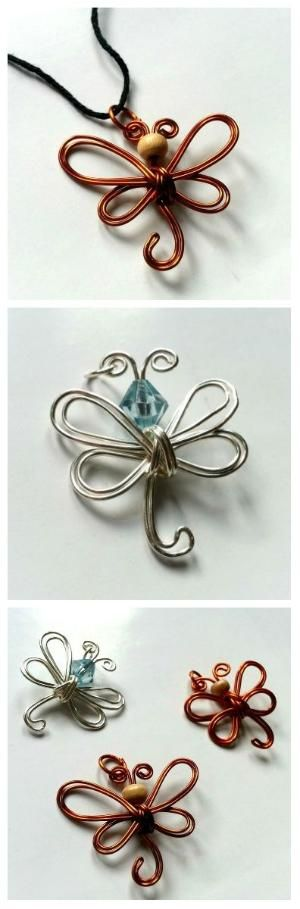 Simple Wire Dragonfly Pendant #jewelry #necklace by assistant cog