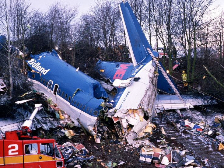 8 January 1989 – British Midland Flight 92, operated by Boeing 737-400 G-OBMI crashed at Kegworth, Leicestershire whilst on approach to land at East Midlands Airport. The aircraft was operating a scheduled domestic flight from London Heathrow Airport to Belfast International Airport when the port engine suffered a failure but the starboard engine was shut down. Of the 126 people on board, 47 were killed and 79 were injured.