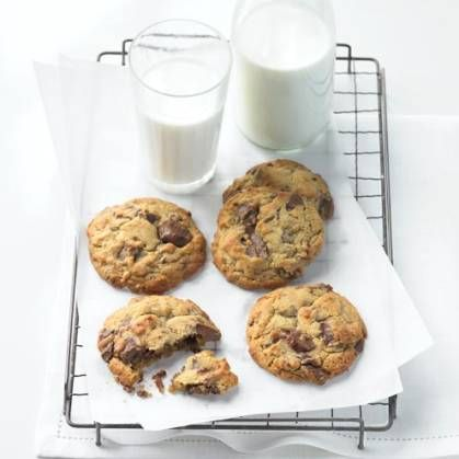 Cookies and milk on a tray