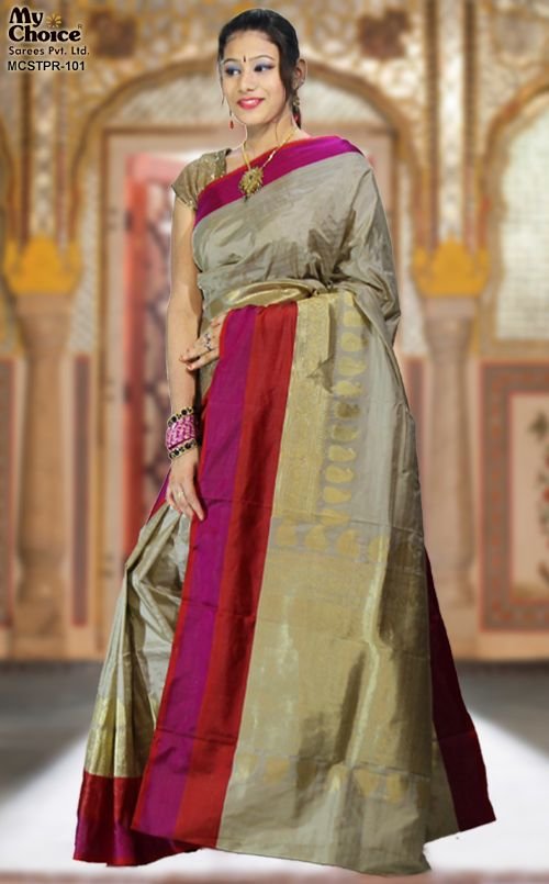 CREAM GREY COLOR TIRUPARA SILK SAREE