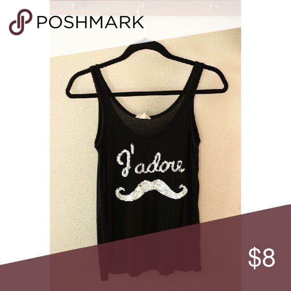 J'adore Mustaches sequined tank top 🔹MAKE ME AN OFFER: I will consider all offers, but please be reasonable! I give 15% off on all bundles of 2, and I will increase that discount by 5% for every additional item you purchase!🔹 Kirra Tops Tank Tops