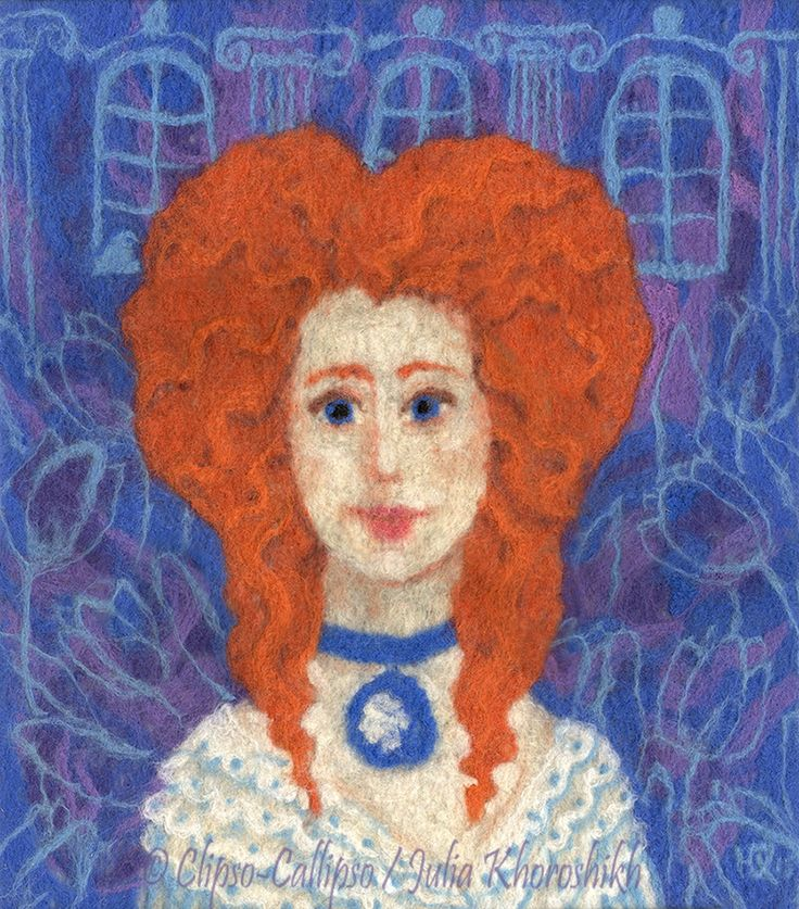 Ginger lady with blue eyes  and impressive haircut, wearing white dress and blue and white cameo necklace. Blue tulips and palace windows on a ultramarine and violet background. Inspired by rococo fashion and 18 century portraits. Historical fantasy, cartoon style, felt / wool painting, fiber art, needle and wet felting, 2015 39 x 44 cm © Clipso-Callipso / Julia Khoroshikh #redhair, #redhaired, #ginger, #redhead, #lady #felting, #fiberart, #rococo, #cobalt, #orange, #18century, #illustration
