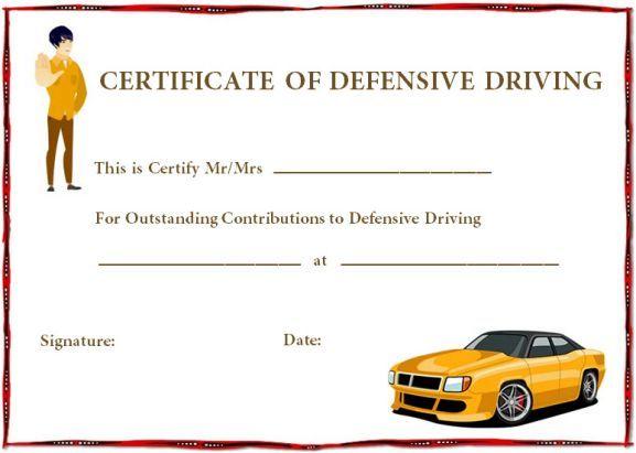 Defensive Driving Certificate Templates Certificate