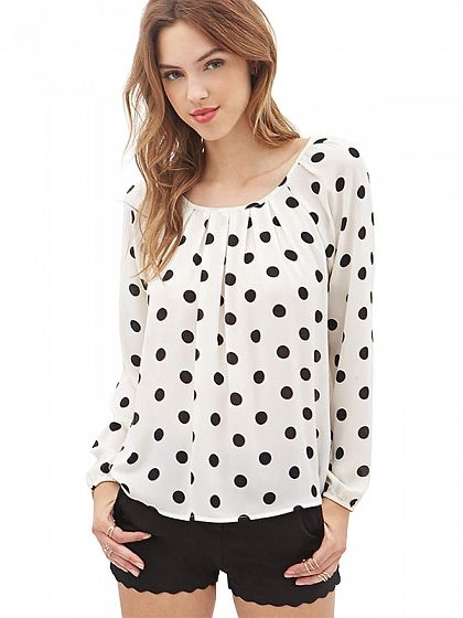 Wave Point Long-sleeved Chiffon Blouse