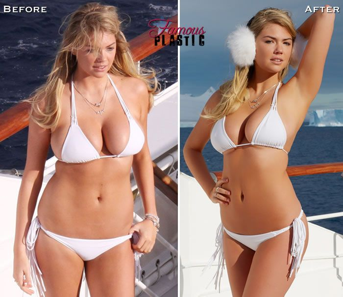 Kate Upton Before and After Photoshop...she looks fine before photoshop if they would put her in a swimsuit that actually fit her