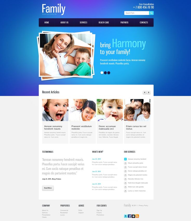 Family Center Website Templates by Elza