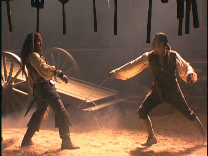 The Curse of the Black Pearl - swordfight between Captain Jack Sparrow (Johnny Depp) and Will Turner (Orlando Bloom).