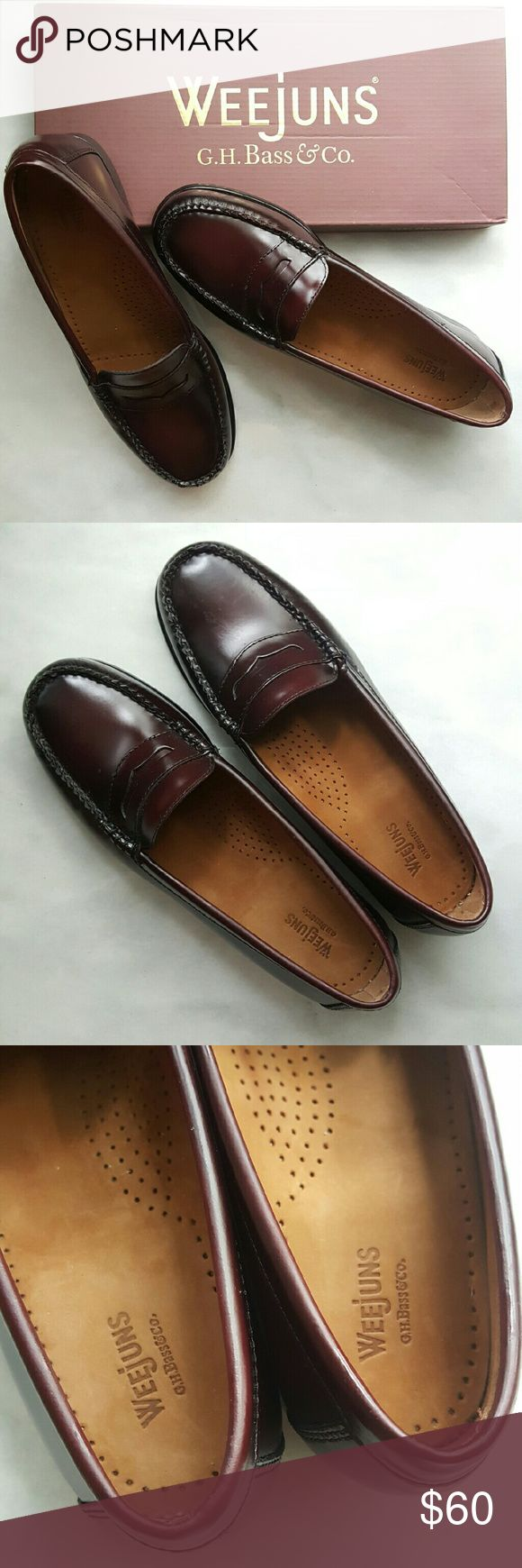 Leather Weejuns GH Bass & co. Womens loafers Like new weejuns womens leather penny loafers. Worn for 3 hours in a hotel. Retails for $109 and up. Color is a reddish brown size 7.5, i feel like they run slightly large. G.H Bass & Co. Shoes Flats & Loafers