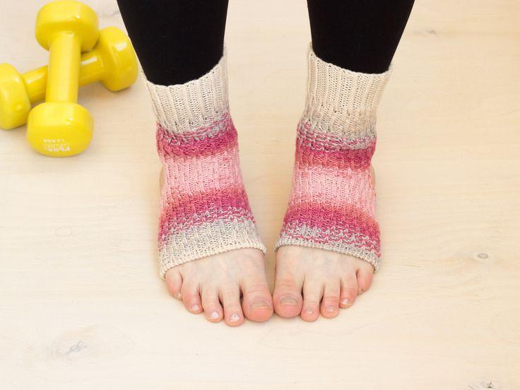 Pink cotton yoga socks Hand knit ankle warmers (Pink Morning) Dance socks Stripped toeless socks Yoga gift Yoga wear Sport wear Gift idea by MarooSocks on Etsy