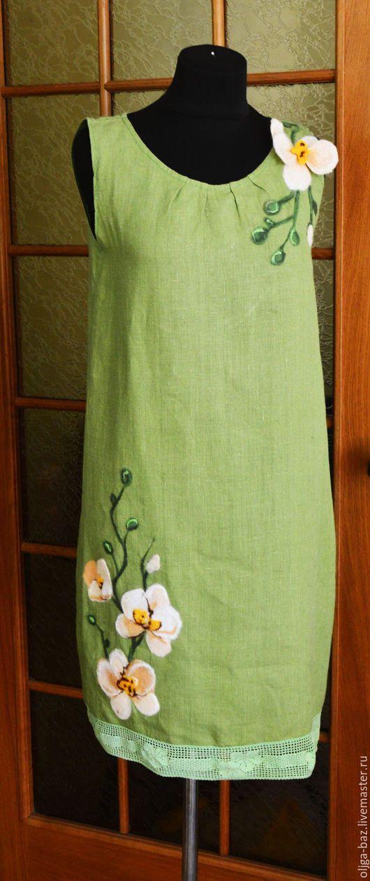 Платье лляное с  теплыми орхидеями
