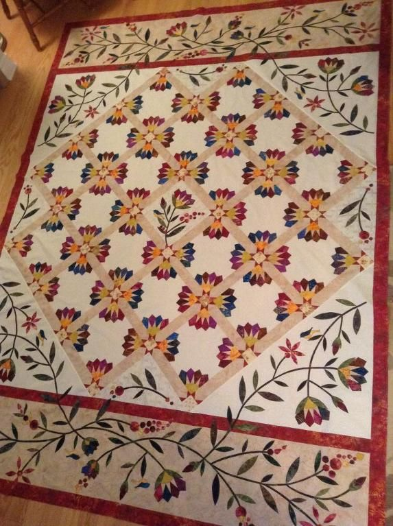 "Dresden Bloom, pattern by Edyta Sitar. I made this for our ""Bunk Room"", can hardly wait till the quilting is finished!"