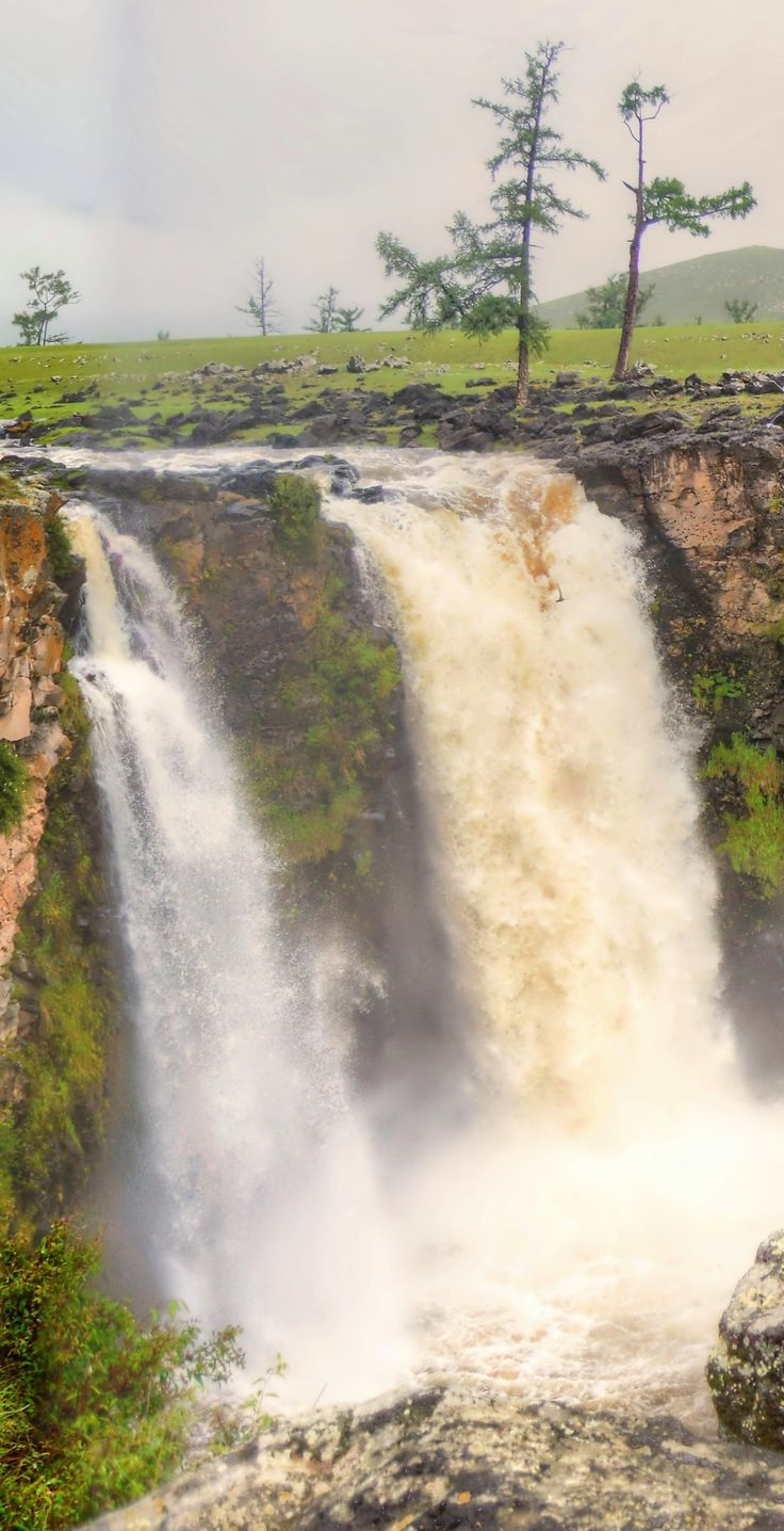Mongolian Waterfalls 001 - - - - - Orkhon waterfall is the largest waterfall in Mongolia. Any natural phenomenon is considered sacred. #mongolia