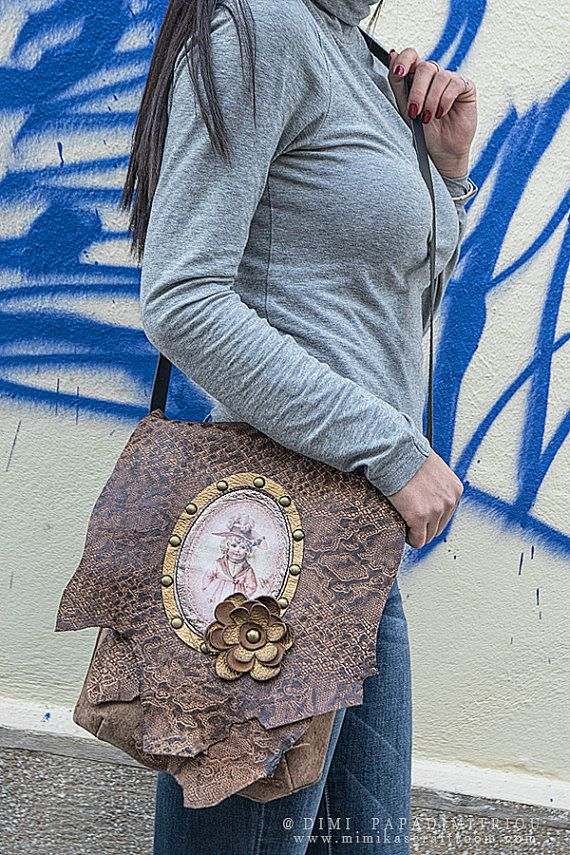 Leather Shoulder Bag/ Crossbody Handbags/ by mimikascraftroom