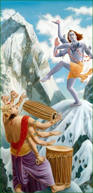 Lord Shiva dancing to the drum beats of Banasura
