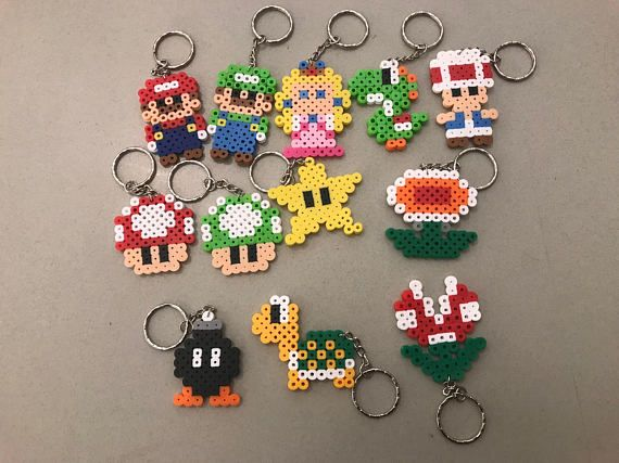 Mario perler bead keychain