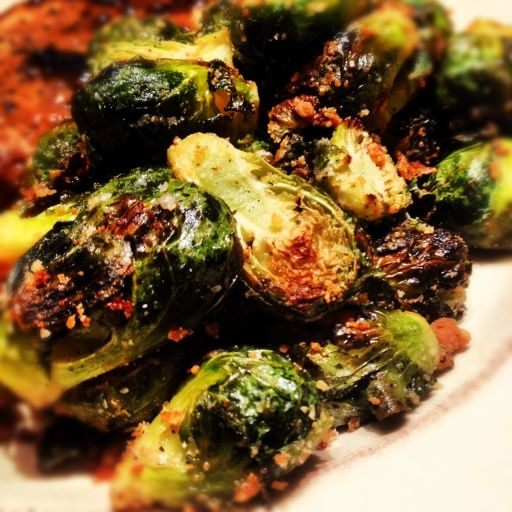 Parmesan Roasted Brussels Sprouts Recipe. I made these tonight and couldn't stop eating them!