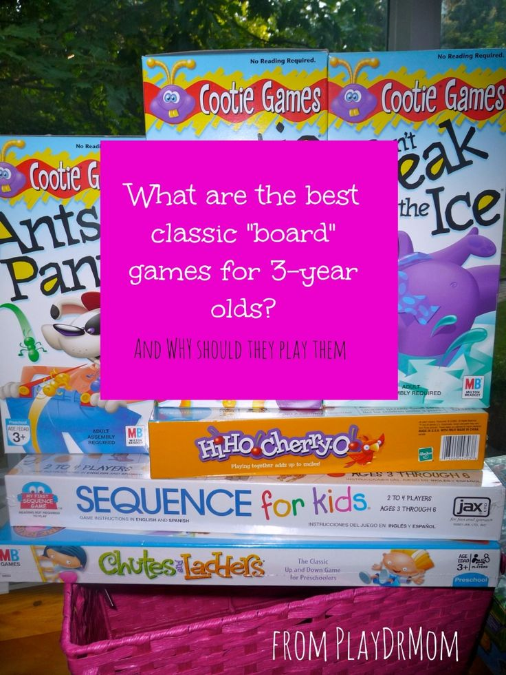 "Three is a perfect age to start introducing children to games. PlayDrMom lists her favorite classic ""board"" games to play with three-year olds ... and why they are so great."