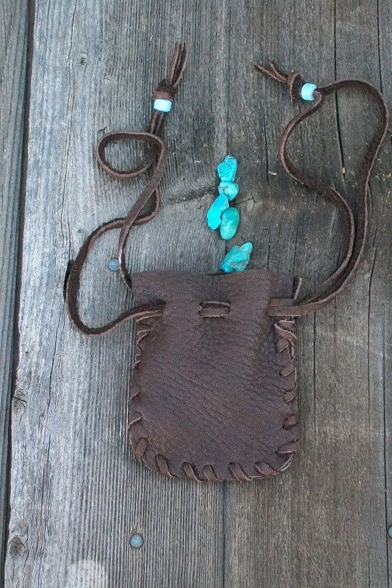 Leather drawstring bag   Handmade leather pouch     by thunderrose