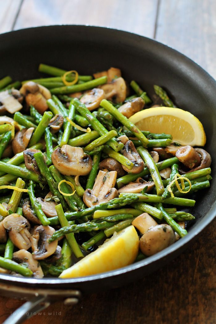 Asparagus and mushrooms lightly sautéed in butter and flavored with lemon zest and fresh thyme. A delicious and healthy side dish that pairs well with any meal! Get the recipe at LoveGrowsWild.com