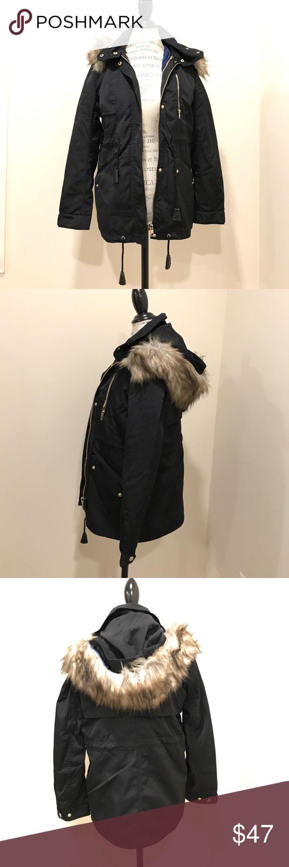 Zara winter jacket - new without tag Detachable furry hood + detachable blue lining pad+ very dark navy color Zara Jackets & Coats